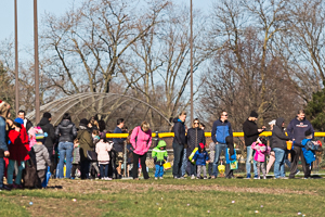 Crowd watching Easter egg hunt