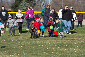 Easter eggs and kids searching for them