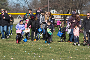Easter eggs scattered in grass