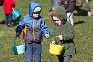 Easter baskets and happy kids