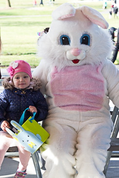 Posing with Easter bunny