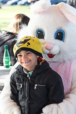 Posing for photo with Easter bunny