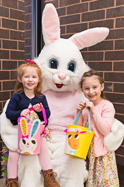 Happy kids with Easter bunny
