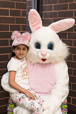 Smiling photo with the Easter bunny