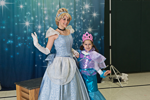 Two princesses posing for a photo