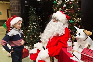 Boy interacting with Santa