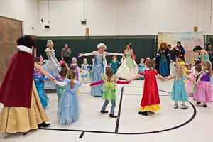 Kids dancing in costumes