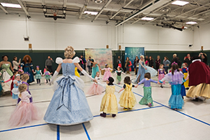 Kids dancing in gymnasium