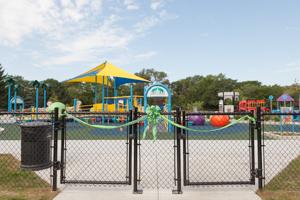 Ribbon blocking off playground