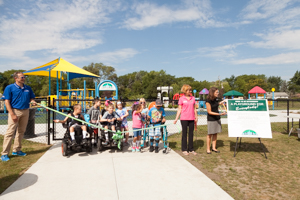 Ribbon cutting ceremony at the playground