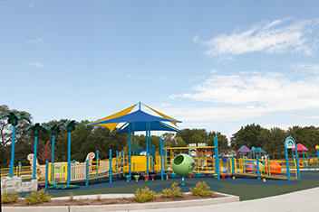 Yellow and blue playground area