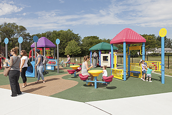 Colorful playground seating area