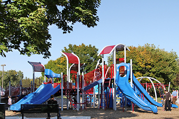 Blue and red playground
