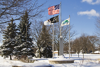 4 flags in winter