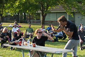 Emcee at park concert