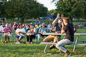 Crowd at the concert in the park