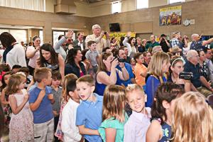 Preschool kids entering graduation