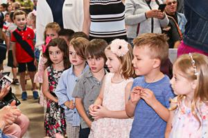 Preschool graduates lined up